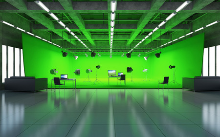 Large Pavilion Interior of Modern Film Studio with Green Screen and Light Equipment. 3D Rendering