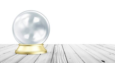 spirit medium: Empty Blue Crystal Ball with Golden Stand on White Wooden Table with place for Your Text. 3D Rendering Stock Photo