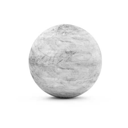 concrete background: Dirty Concrete Sphere isolated on white background. 3D Rendering Stock Photo