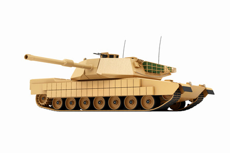 Heavy Military Tank isolated on white background. 3D Rendering Stock Photo