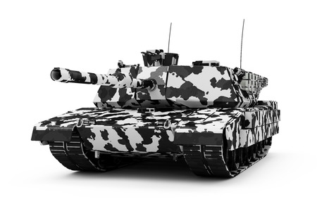 Heavy Military Tank in Winter Camouflage isolated on white background. 3D Rendering