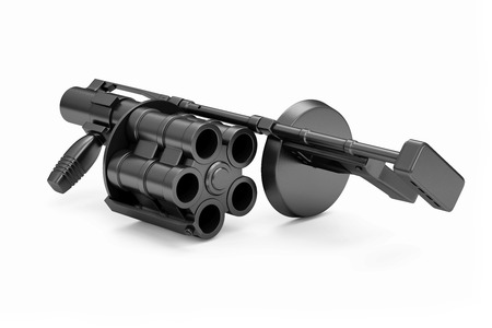 Black Modern Grenade launcher isolated on white background. Military Tactical Weapons Concept