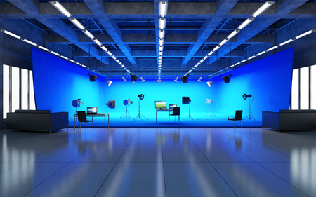 Large Pavilion Interior of Modern Film Studio with Blue Screen and Light Equipment. 3D Rendering
