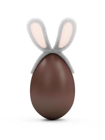ハッピー イースターのコンセプトです。白い背景に分離された毛皮のようなウサギの耳と大きなチョコレートの卵