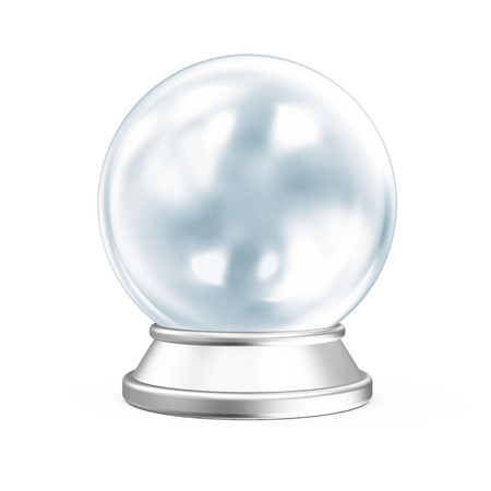 Empty Blue Crystal Ball with Silver Stand isolated on white background. 3D Rendering