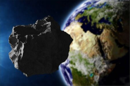 Big Asteroid Closing to the Earth Planet. Apocalypse Concept. Elements of this image furnished by NASA. (Focus on the Asteroid)