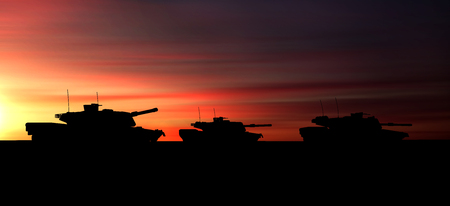 Silhouette of Group Heavy Military Tanks Moving in Desert at Sunset. 3D Rendering