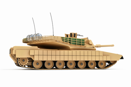 Heavy Military Tank isolated on white background. 3D Rendering. Stock Photo