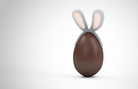 Happy Easter Concept. Big Chocolate Egg with Furry Bunny Ears on gradient background with place for Your Text Standard-Bild