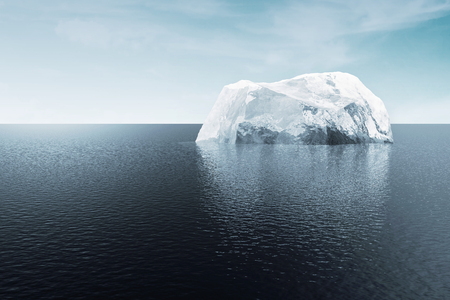 Arctic Landscape Iceberg in the Ocean or Sea. 3D Rendering Stock Photo