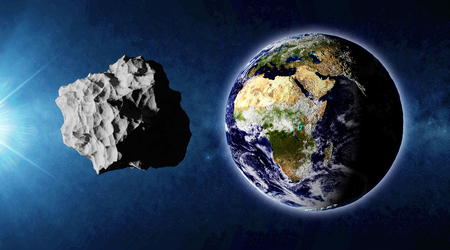 planetoid: Big Asteroid Closing to the Earth Planet. Apocalypse Concept.