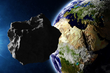 planetoid: Big Asteroid Closing to the Earth Planet. Apocalypse Concept. Elements of this image furnished by NASA Stock Photo