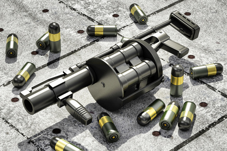 black floor: Black Modern Grenade Launcher with 40 mm Grenades on Grunge Concrete Floor. Military Tactical Weapons Concept Stock Photo