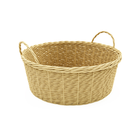 baclground: Empty Wicker Basket isolated on white baclground Stock Photo