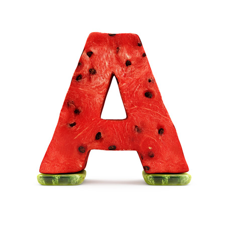 rendering: Watermelon Alphabet isolated on white background (Letter A). 3D Rendering