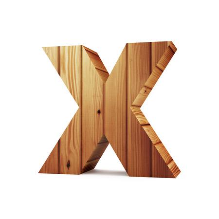 solid figure: Alfabeto di legno isolato su sfondo bianco (lettera X). Rendering 3D