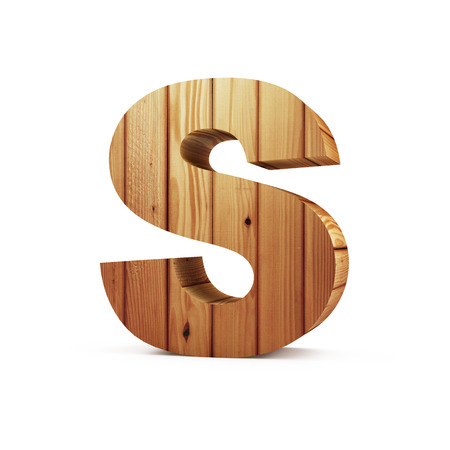 solid figure: Wooden Alphabet isolated on white background (Letter S). 3D Rendering Archivio Fotografico