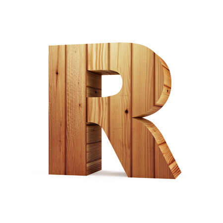 Wooden Alphabet isolated on white background (Letter R). 3D Rendering