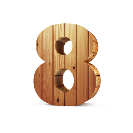 Wooden Numbers isolated on white background (Number 8). 3D Rendering