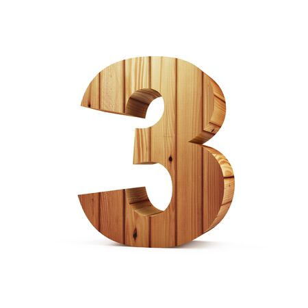 Wooden Numbers isolated on white background (Number 3). 3D Rendering 版權商用圖片