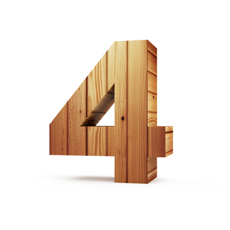Wooden Numbers isolated on white background (Number 4). 3D Rendering 版權商用圖片