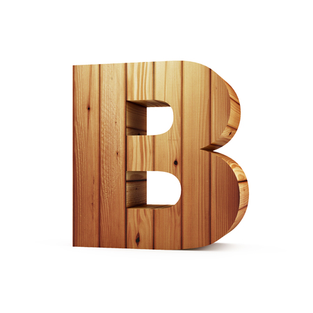 Wooden Alphabet isolated on white background (Letter B). 3D Rendering