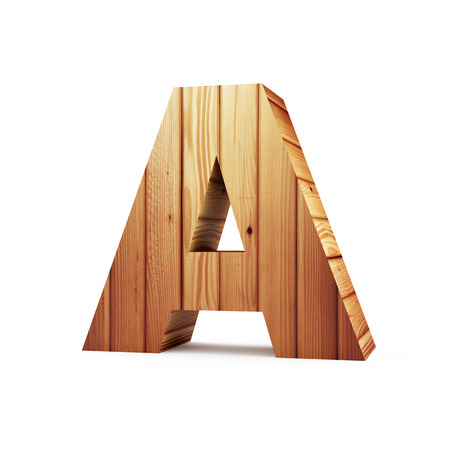 Wooden Alphabet isolated on white background (Letter A). 3D Rendering