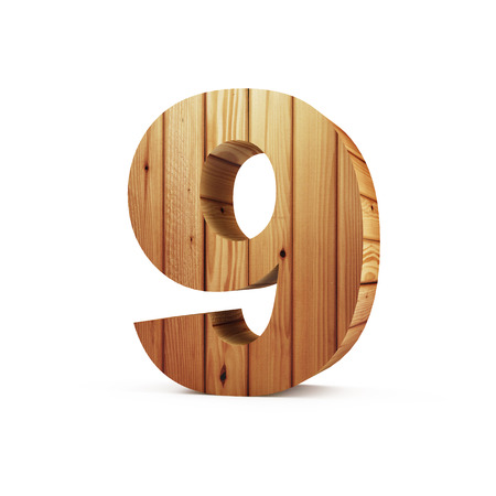 Wooden Numbers isolated on white background (Number 9). 3D Rendering