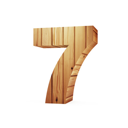 Wooden Numbers isolated on white background (Number 7). 3D Rendering
