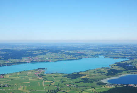 Aerial View on Bavarian landscape with Rivers and Lakes