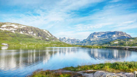 Beautiful Norway Landscape with mountains, lake and forest