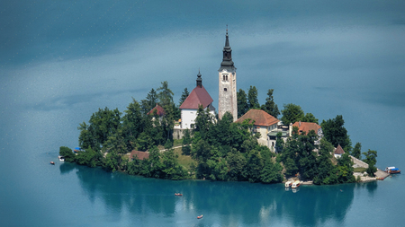 Scenic view of Church on the Island Bled in the Julian Alps in Slovenia