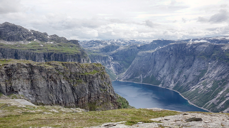 Beautiful norway mountains. Aerial vibrant view on famous Norwegian tourist place Trolltunga path