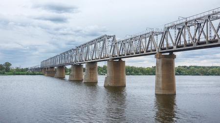 Big Railroad Bridge above the River Dnieper, Kyiv, Ukraine.
