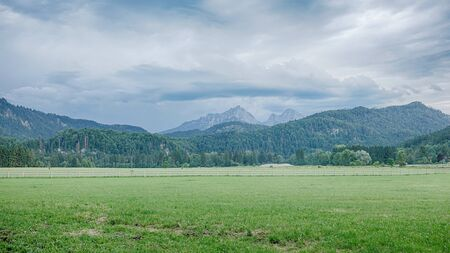 Amazing Bavarian Alps Landscape. Mountains with Storm Clouds. Stok Fotoğraf