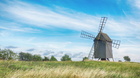 Old Wooden Windmills on Beautiful Landscape. Oland, Sweden.