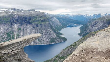 Beautiful norway mountains. Aerial vibrant view on famous Norwegian tourist place Trolltunga