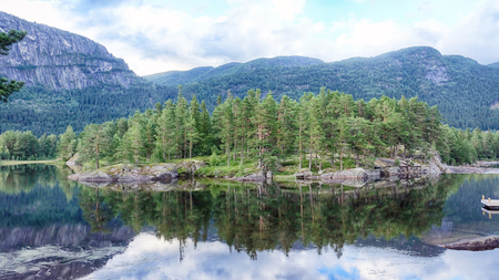 Beautiful Norway Landscape with mountains, river and forest