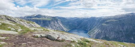 Beautiful norway mountains. Panoramic view on famous Norwegian tourist place Trolltunga path