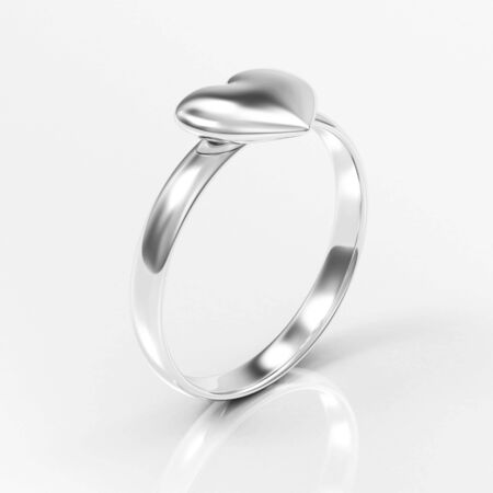 Silver Ring with Heart Shape on white