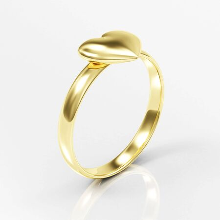 Golden Ring with Heart Shape on white