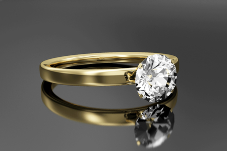 Golden Ring with Diamond on black reflective background. 3D Rendering Stok Fotoğraf