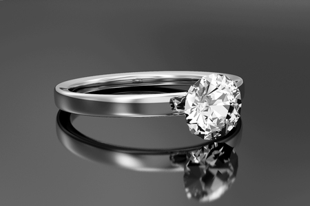 White Gold Ring with Diamond on black reflective background. 3D Rendering