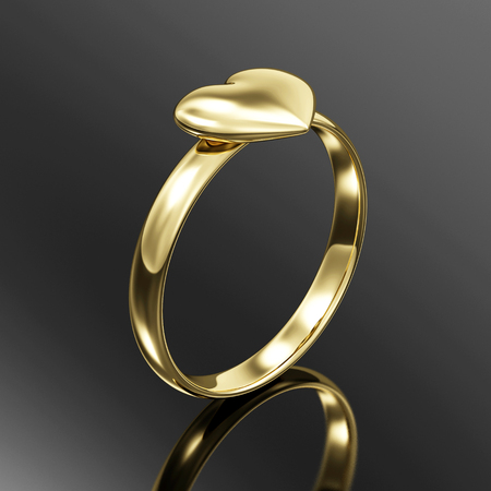Golden Ring with Heart Shape. Love and Romantic Symbol on black background