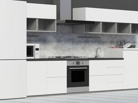 Modern Kitchen 3D Interior in White Tones. Stok Fotoğraf