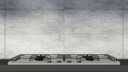 Close-up View of Gas Stove in Modern Kitchen Interior.