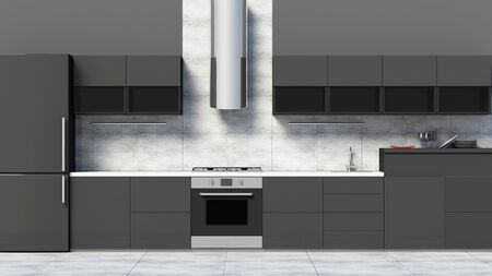 Front View of Modern Kitchen 3D Interior in Black.