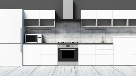 Front View of Modern Kitchen 3D Interior in White Tones.