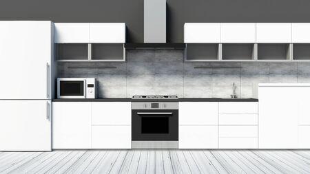 Front View of Modern Kitchen 3D Interior in White Tones. Stok Fotoğraf - 146347749