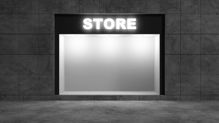 Modern Empty Store Front with Big Window at Night. 3D Rendering Stok Fotoğraf